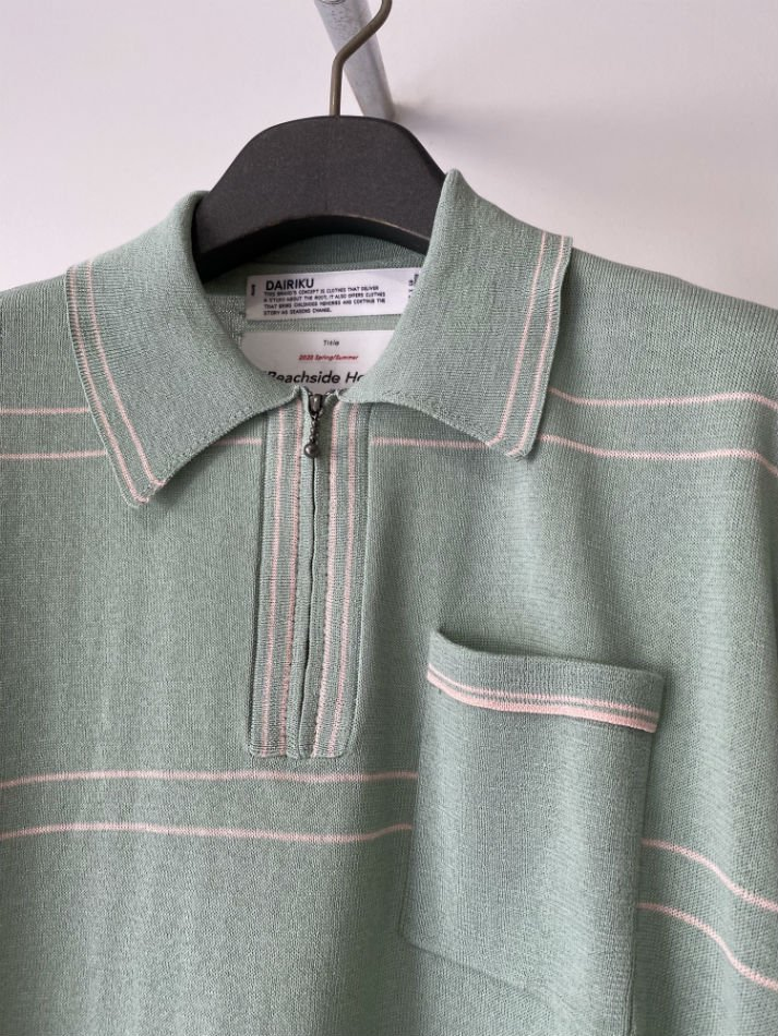 DAIRIKU<br />Half Zip Polo Knit / Mintgreen<img class='new_mark_img2' src='//img.shop-pro.jp/img/new/icons47.gif' style='border:none;display:inline;margin:0px;padding:0px;width:auto;' />