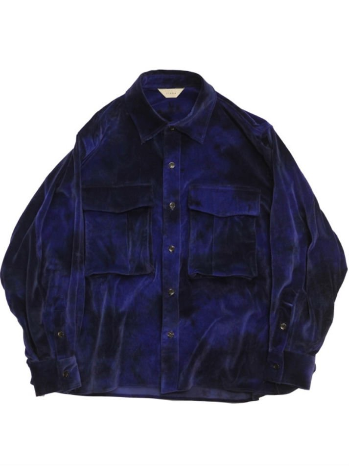 JieDa<br />VELVET OVER SHIRT / BLUE <img class='new_mark_img2' src='https://img.shop-pro.jp/img/new/icons14.gif' style='border:none;display:inline;margin:0px;padding:0px;width:auto;' />