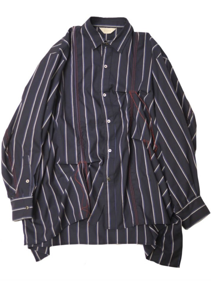 JieDa<br />HAND STTICH STRIPE SHIRT / NAVY