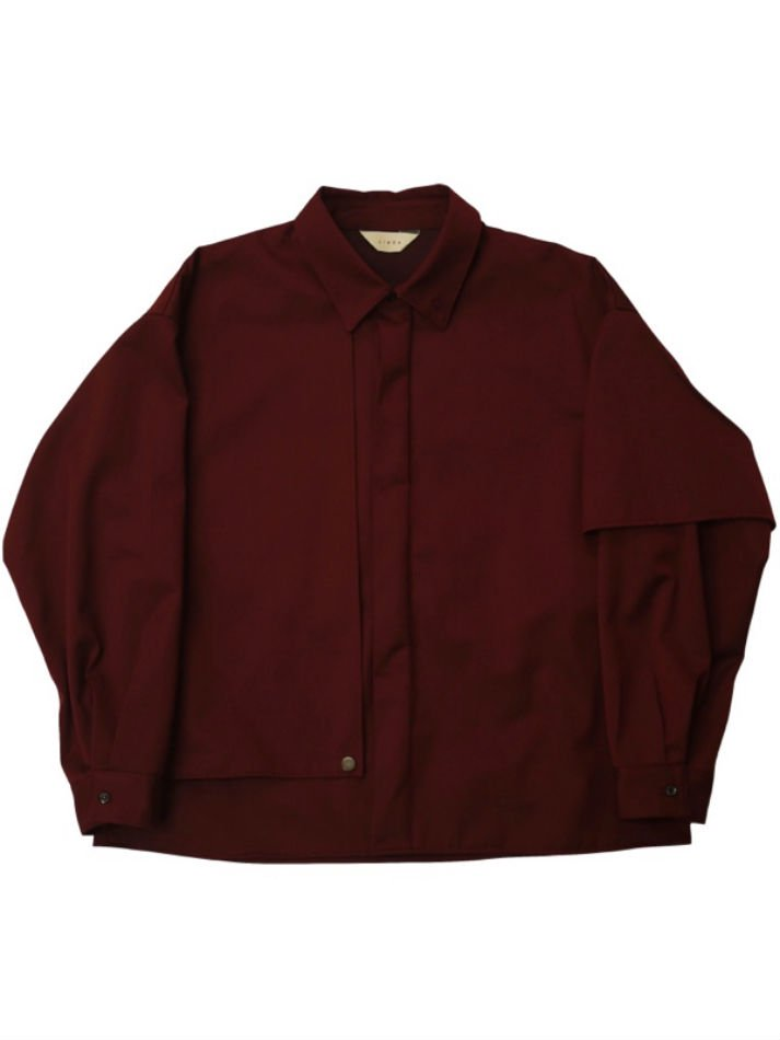 JieDa<br />GABARDINE FLAP SHIRT / BURGUNDY