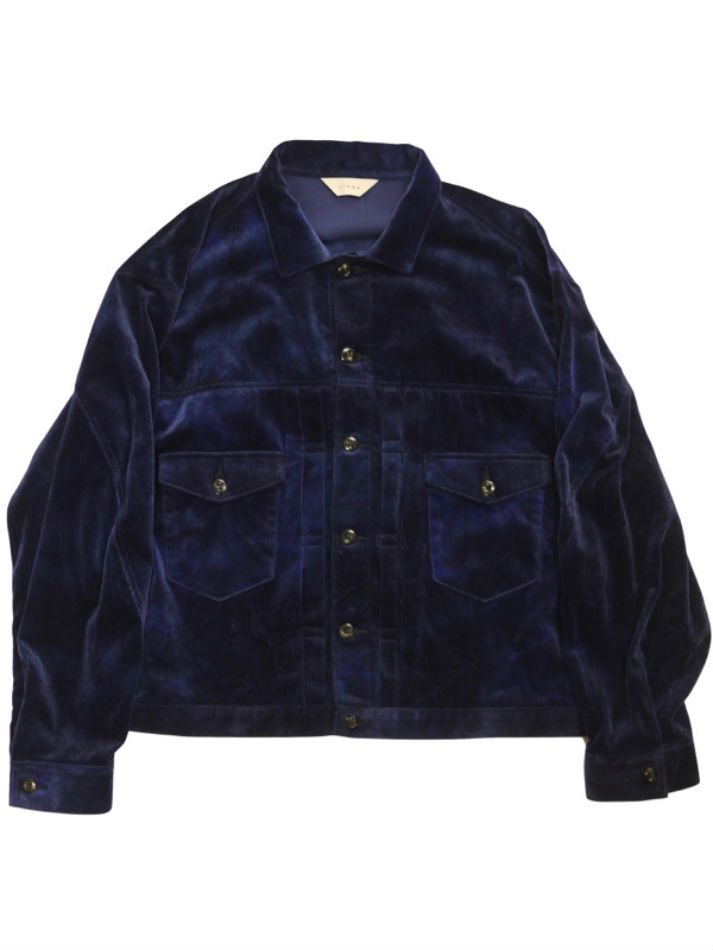 JieDa<br />VELVET JACKET / BLUE