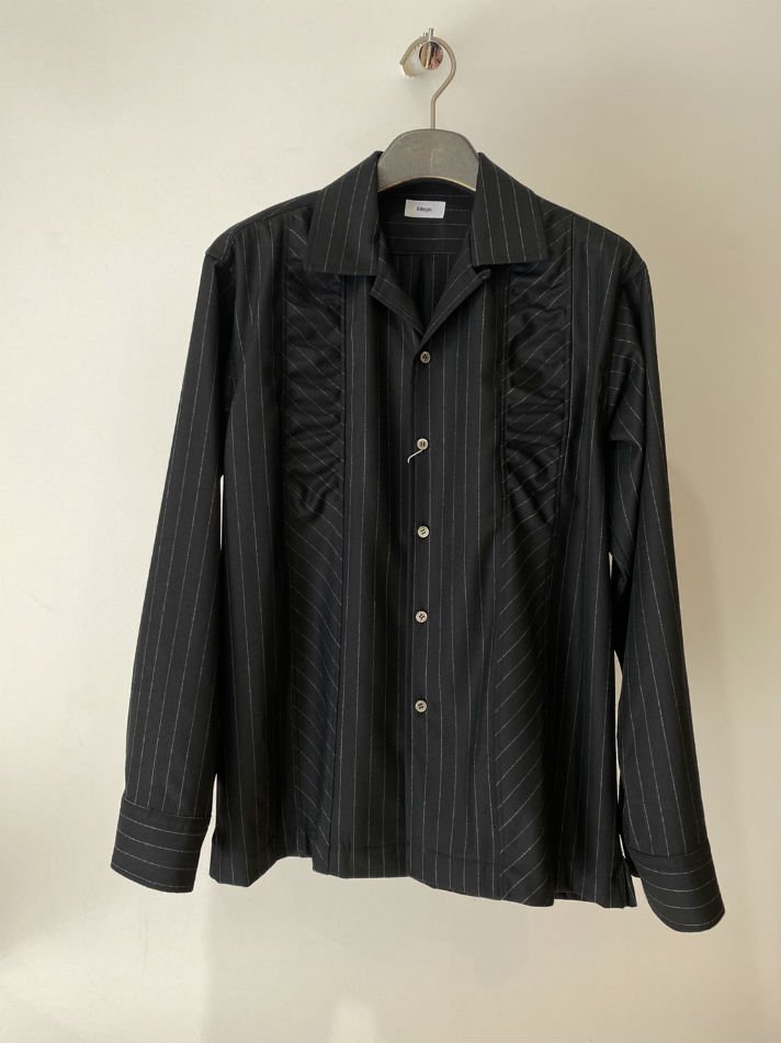 ALLEGE<br />Gather Stripe Open Collar Shirt / STRIPE