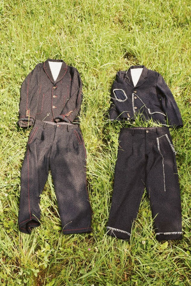 KHOKI<br />Blanket jacket & Blanket pants / Navy