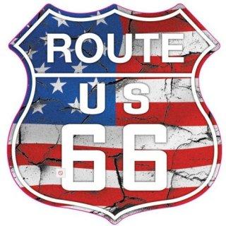 US ルート66 ステッカー S ハイウェイフラッグ  輸入雑貨/海外雑貨/直輸入/アメリカ雑貨/アメ雑