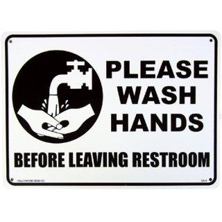 プラスチック サイン ボード Plastic Sign Board (CA-04:トイレ後手洗い) 輸入雑貨/アメリカ雑貨