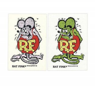 <img class='new_mark_img1' src='//img.shop-pro.jp/img/new/icons5.gif' style='border:none;display:inline;margin:0px;padding:0px;width:auto;' />Rat Fink Made in USA ステッカー 9×5.7cm ラットフィンク グリーン 輸入雑貨/アメリカ雑貨