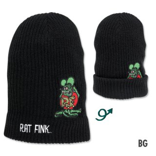 <img class='new_mark_img1' src='//img.shop-pro.jp/img/new/icons5.gif' style='border:none;display:inline;margin:0px;padding:0px;width:auto;' />Rat Fink ラットフィンク ビーニー  ブラックグリーン 輸入雑貨/アメリカ雑貨