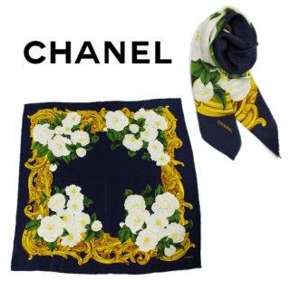 CHANEL シャネル<br>【Vintage ヴィンテージ】<br>フラワーモチーフスカーフ