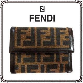 FENDI フェンディ<br>【Vintage ヴィンテージ】<br>ズッカ柄二つ折り財布