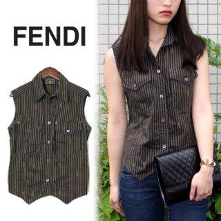 FENDI フェンディ<br>【Vintage ヴィンテージ】<br>ぺカン柄ノースリーブシャツ