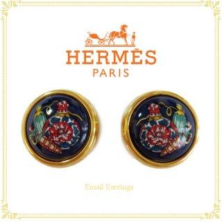 HERMES エルメス<br>【Vintage ヴィンテージ】<br>エマイユイヤリング
