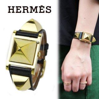 HERMES エルメス<br>【Vintage ヴィンテージ】<br>メドールウォッチ ブラック
