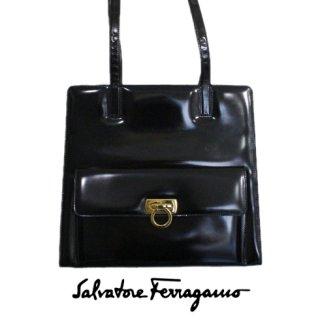 Ferragamo フェラガモ<br>【Vintage ヴィンテージ】<br>ガンチーニエナメルショルダーバッグ