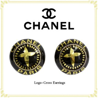 CHANEL シャネル<br>【Vintage ヴィンテージ】<br>90's ロゴ×クロスイヤリング
