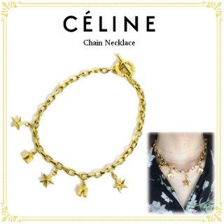 CELINE セリーヌ ヴィンテージ<br>スター×凱旋門チャームチェーンネックレス