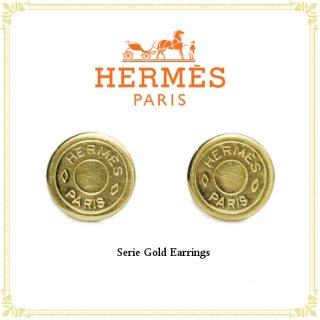 HERMES エルメス<br>【Vintage ヴィンテージ】<br>セリエ ゴールドイヤリング