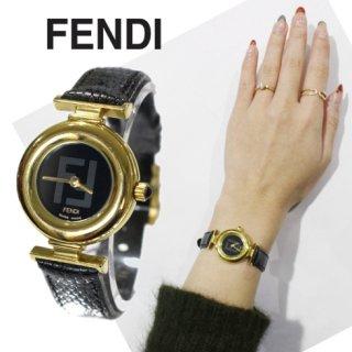 FENDI フェンディ<br>【Vintage ヴィンテージ】<br>ロゴ盤×レザーベルトQZ腕時計