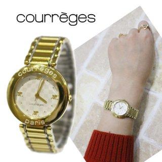 courreges クレージュ ヴィンテージ<br>ゴールドロゴQZ腕時計
