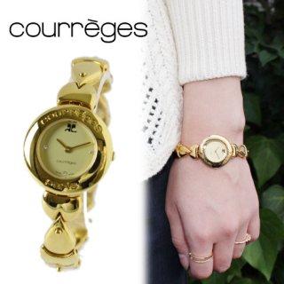 courreges クレージュ ヴィンテージ<br>ゴールドデザインベルトQZ腕時計