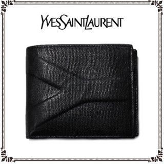 YSL イヴサンローラン<br>【Vintage ヴィンテージ】<br>Y型押し二つ折り財布
