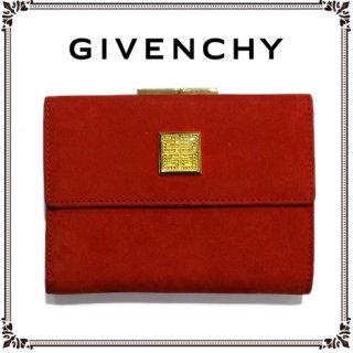 GIVENCHY ジバンシー<br>【Vintage ヴィンテージ】<br>ヌバック×ラインストーンロゴ三つ折り財布