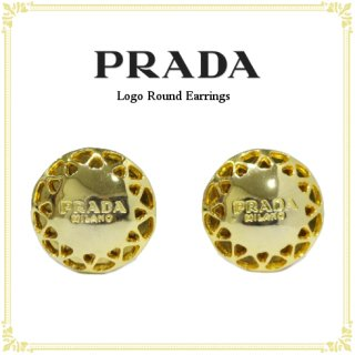 PRADA プラダ<br>【Vintage ヴィンテージ】<br>デザインカットロゴラウンドイヤリング