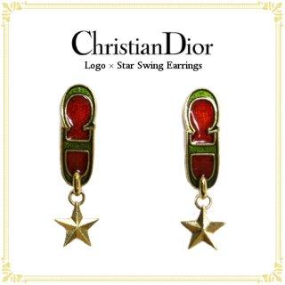 Dior ディオール ヴィンテージ<br>ロゴ×スタースウィングイヤリング