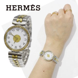 HERMES エルメス<br>【Vintage ヴィンテージ】<br>セリエウォッチ コンビQZ腕時計