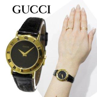 GUCCI グッチ<br>【Vintage ヴィンテージ】<br>レザーベルトQZ腕時計 3000.2.L