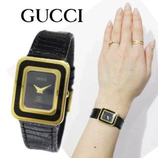 GUCCI グッチ<br>【Vintage ヴィンテージ】<br>スクエアレザーベルトQZ腕時計 813L