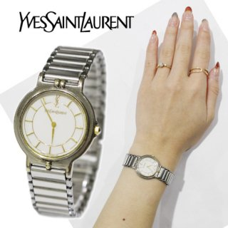 YSL イヴサンローラン<br>【Vintage ヴィンテージ】<br>コンビカラーQZ腕時計