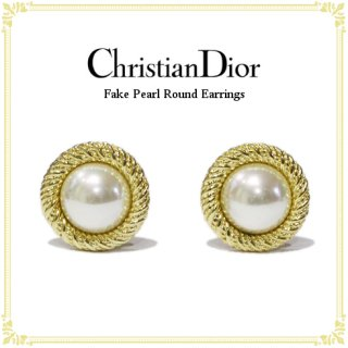 Dior ディオール ヴィンテージ<br>フェイクパールラウンドイヤリング