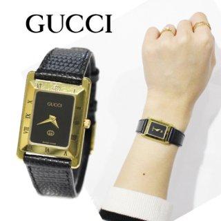 GUCCI グッチ<br>【Vintage ヴィンテージ】<br>スクエアレザーベルトQZ腕時計 4200L