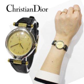 Dior ディオール<br>【Vintage ヴィンテージ】<br>レザーベルトQZ腕時計