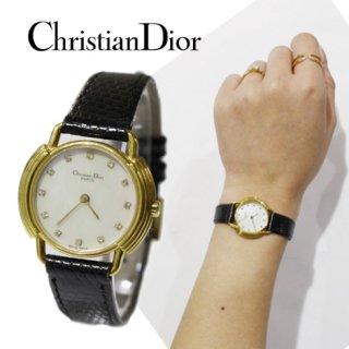 Dior ディオール<br>【Vintage ヴィンテージ】<br>シェルレザーベルトQZ腕時計