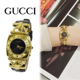 GUCCI グッチ<br>【Vintage ヴィンテージ】<br>ホースビット レザーベルトQZ腕時計 6300L