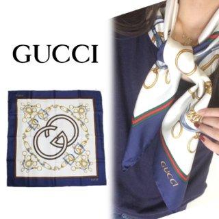 GUCCI グッチ<br>【Vintage ヴィンテージ】<br>シェリーラインスカーフ