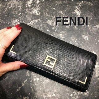 FENDI フェンディ<br>【Vintage ヴィンテージ】<br>クロコ型押し長財布