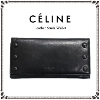 CELINE セリーヌ<br>【Vintage ヴィンテージ】<br>レザースタッズ長財布