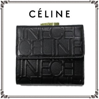 CELINE セリーヌ<br>【Vintage ヴィンテージ】<br>ロゴ総柄二つ折り財布