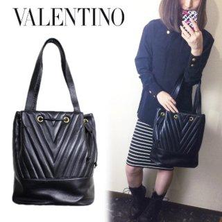 VALENTINO ヴァレンティノ<br>【Vintage ヴィンテージ】<br>Vステッチレザーショルダーバッグ
