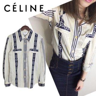 CELINE セリーヌ<br>【Vintage ヴィンテージ】<br>チェーン柄カットソーシャツ