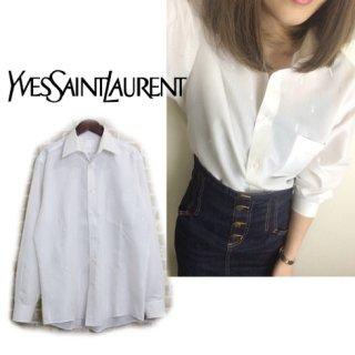 YSL イヴサンローラン<br>【Vintage ヴィンテージ】<br>ロゴ刺繍長袖シャツ