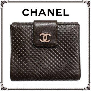 CHANEL シャネル<br>【Vintage ヴィンテージ】<br>ココマーク×ロゴ二つ折り財布 ブラウン