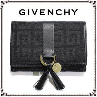 GIVENCHY ジバンシー ヴィンテージ<br>キャンバス×レザータッセル二つ折り財布
