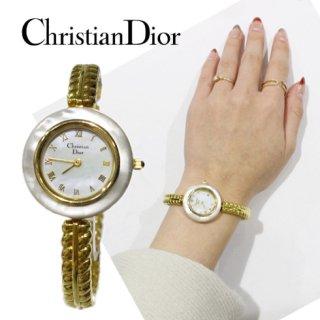 Dior ディオール ヴィンテージ<br>シェル×ゴールドブレスQZ腕時計