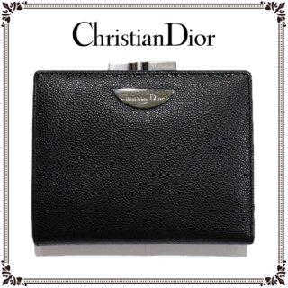 Dior ディオール<br>【Vintage ヴィンテージ】<br>がま口レザー二つ折り財布