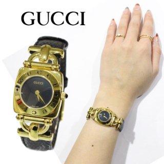 GUCCI グッチ<br>【Vintage ヴィンテージ】<br>ホースビット レザーベルトQZ腕時計 6300L 濃紺