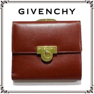 GIVENCHY ジバンシー<br>【Vintage ヴィンテージ】<br>がま口レザー三つ折り財布 ボルドー