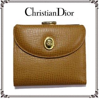 Dior ディオール<br>【Vintage ヴィンテージ】<br>型押しレザーがま口二つ折り財布